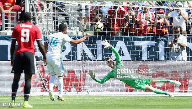 Casemiro of Real Madrid scores their first goal during the International Champions Cup 2017 preseason friendly match between Real Madrid and...
