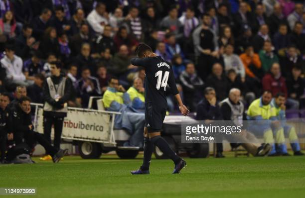 Casemiro of Real Madrid walks off the pitch as he is sent off during the La Liga match between Real Valladolid CF and Real Madrid CF at Jose Zorrilla...