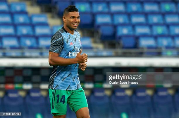 Casemiro of Real Madrid warms-up during the Liga match between RCD Espanyol and Real Madrid CF at RCDE Stadium on June 28, 2020 in Barcelona, Spain.