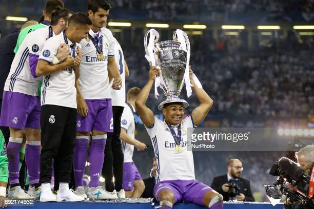 Casemiro of Real Madrid with the trophy during the award ceremony the UEFA Champions League Final between Juventus and Real Madrid at National...
