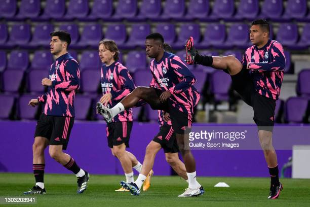 Casemiro of Real Valladolid warming up prior the game during the La Liga Santander match between Real Valladolid CF and Real Madrid at Estadio...