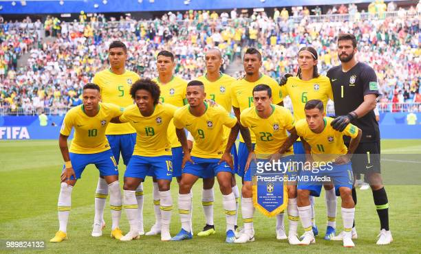 Casemiro Thiago Silva Miranda Paulinho Filipe Luis Alisson Neymar Willian Gabriel Jesus Fagner Philippe Coutinho of Brazil during the 2018 FIFA World...