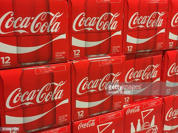 Cases of Coca-Cola on a grocery shelf April 30 in Gainesville, Virgina / AFP / Karen BLEIER