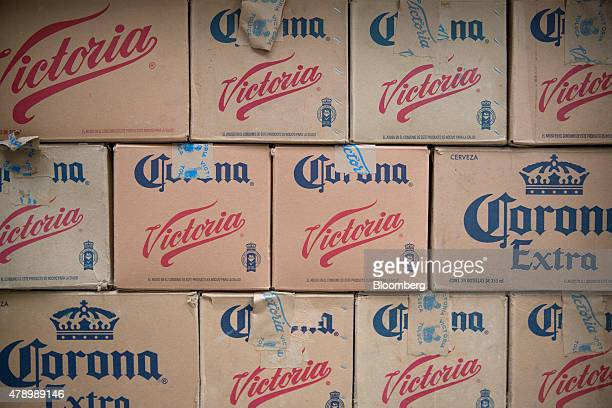 Cases of Constellation Brands Inc Corona and Victoria beer are stacked during a delivery in the Zona Rosa neighborhood in Mexico City Mexico on...