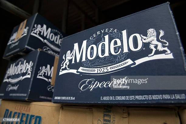 Cases of Constellation Brands Inc Modelo and Pacifico beer are stacked in a delivery truck in the Zona Rosa neighborhood in Mexico City Mexico on...