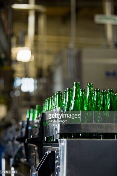 Cases of empty beer bottles at brewery