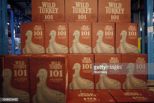 Cases of Gruppo Campari Wild Turkey 101 brand bourbon sit stacked in the warehouse at Southern Glazer's Wine and Spirits LLC distribution center in...