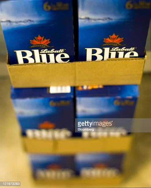 Cases of Labatt Brewing Company Ltd. Labatt's Blue beer are stored at the Liquor Control Board of Ontario flagship store in this photo taken with a...
