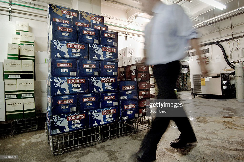 Cases of Lion Nathan Ltd.'s Tooheys New beer are stacked ins : News Photo