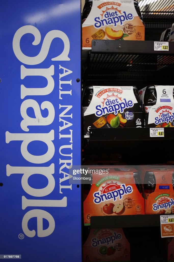 Cases of Snapple brand beverages are displayed for sale at a grocery store in Louisville, Kentucky, U.S., on Tuesday, Feb. 13, 2018. Dr. Pepper Snapple Group Inc. is scheduled to release earnings figures on February 14. Photographer: Luke Sharrett/Bloomberg via Getty Images