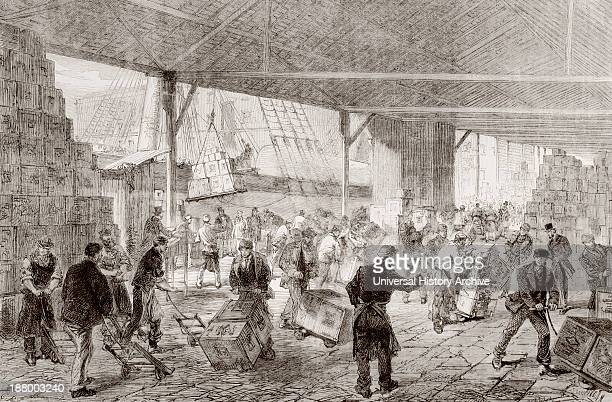 Cases Of Tea Being Unloaded From A China Clipper At The London Docks In 1868 From L'univers Illustre Published In Paris In 1868