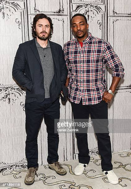 Casey Affleck and Anthony Mackie attend AOL Build to discuss their new film 'Triple 9' at AOL Studios on February 23, 2016 in New York City.
