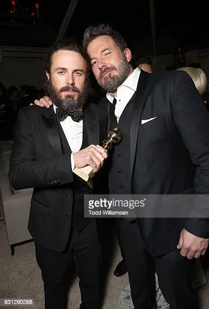 Casey Affleck and Ben Affleck attend Amazon Studios Golden Globes Celebration at The Beverly Hilton Hotel on January 8 2017 in Beverly Hills...