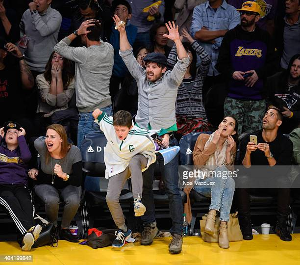 Casey Affleck and his son Indiana Affleck attend a basketball game between the Boston Celtics and the Los Angeles Lakers at Staples Center on...