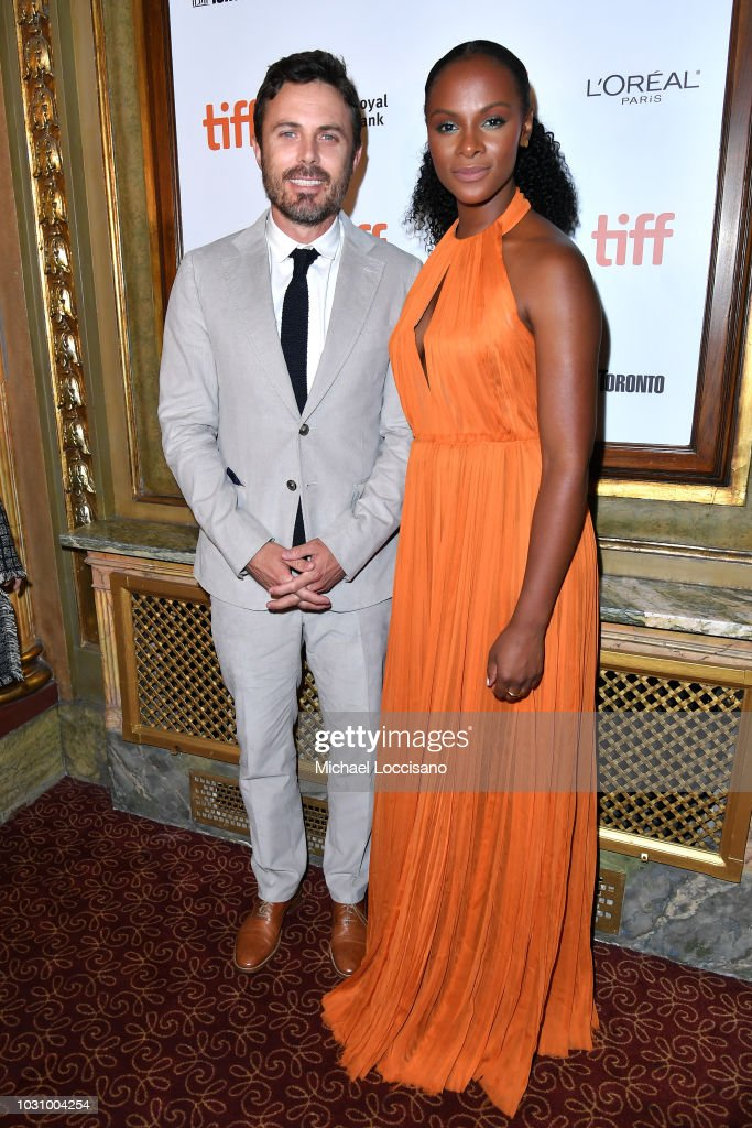 Casey Affleck (L) and Tika Sumpter attend the 'The Old Man & The Gun' premiere during 2018 Toronto International Film Festival at The Elgin on September 10, 2018 in Toronto, Canada.