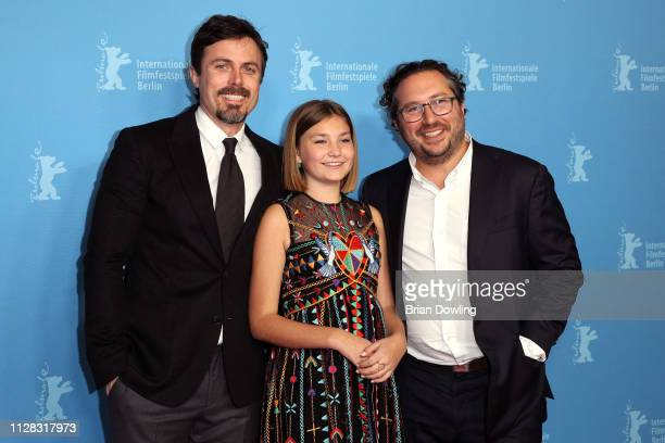 """Casey Affleck, Anna Pniowsky and Teddy Schwarzman attend the """"Light Of My Life"""" premiere during the 69th Berlinale International Film Festival Berlin..."""