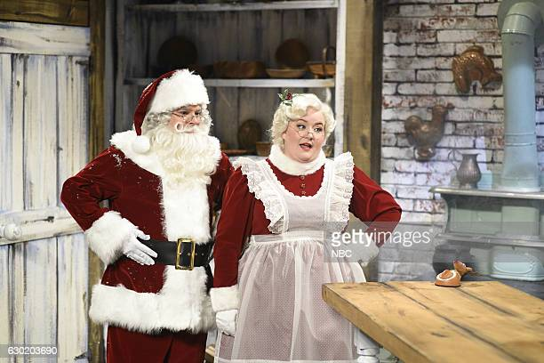 LIVE 'Casey Affleck' Episode 1714 Pictured Bobby Moynihan as Santa Claus and Aidy Bryant as Mrs Claus during the 'Mrs Claus and The Elves' sketch on...