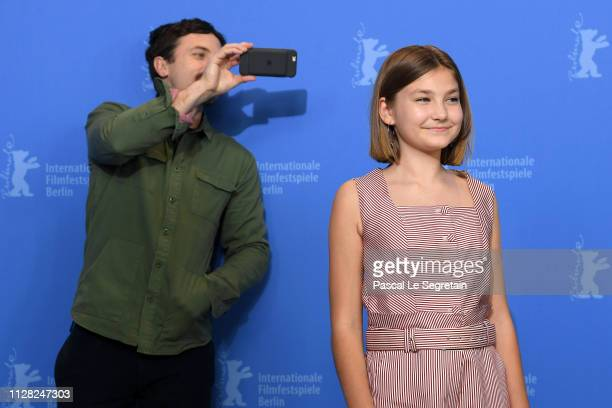 Casey Affleck is taking a picture of Anna Pniowsky during the Light Of My Life photocall during the 69th Berlinale International Film Festival Berlin...