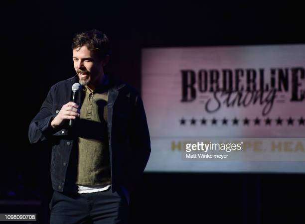 Casey Affleck speaks onstage at ACM Lifting Lives Presents Borderline Strong Concert at Thousand Oaks Civic Arts Plaza on February 11 2019 in...