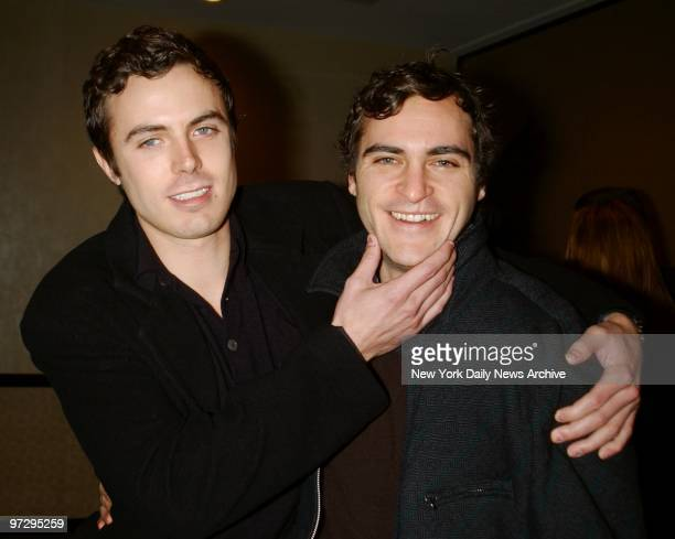 Casey Affleck winner of the Male Star of Tomorrow award with his friend fellow actor Joaquin Phoenix at the Motion Picture Club's 62nd annual Awards...