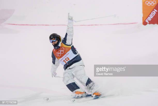 Casey Andringa of the United States celebrates in the Freestyle Skiing Men's Moguls Final on day three of the PyeongChang 2018 Winter Olympic Games...
