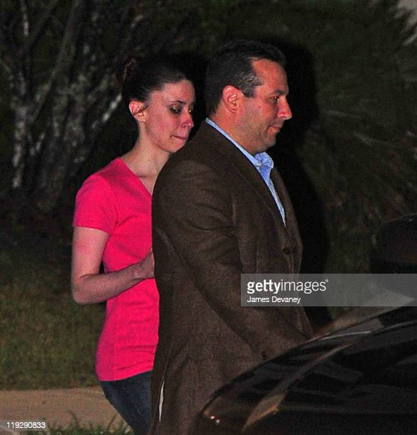 Casey Anthony and Jose Baez leave the Orange County Jail after her midnight release on July 17, 2011 in Orlando, Florida.