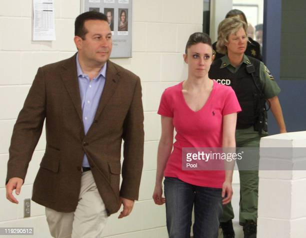 Casey Anthony leaves with her attorney Jose Baez from the Booking and Release Center at the Orange County Jail on July 17 2011 in Orlando Florida...