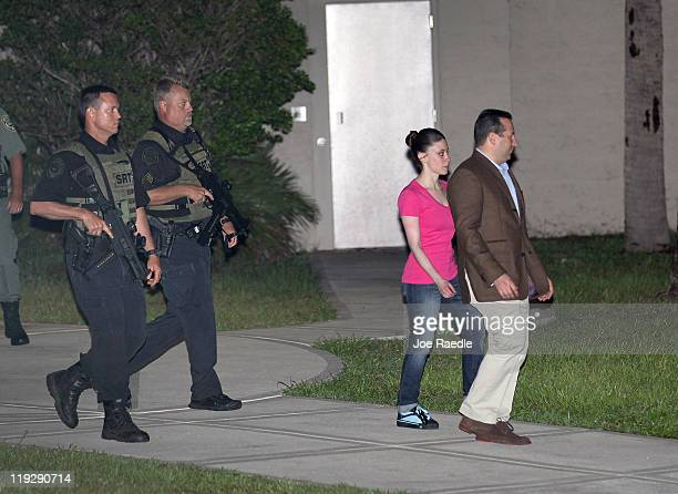 Casey Anthony leaves with her attorney Jose Baez from the Booking and Release Center at the Orange County Jail on July 17, 2011 in Orlando, Florida....