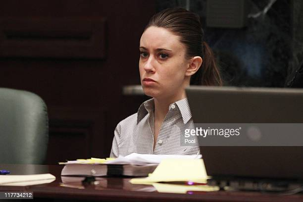 Casey Anthony listens to the testimony of Krystal Holloway, who claims to have had an affair with Anthony's father, during her murder trial at the...