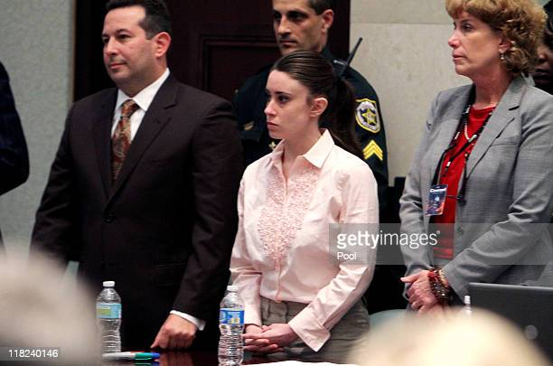 Casey Anthony, with her attorneys Jose Baez and Dorothy Clay Sims stand before the jury presents a verdict in her murder trial at the Orange County...