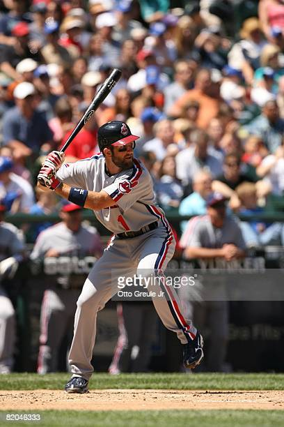 Casey Blake of the Cleveland Indians bats against the Seattle Mariners on July 19, 2008 at Safeco Field in Seattle, Washington.
