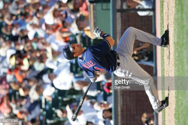 Casey Blake of the Cleveland Indians bats during the game against the San Francisco Giants at SBC Park on June 12 2005 in San Francisco California...