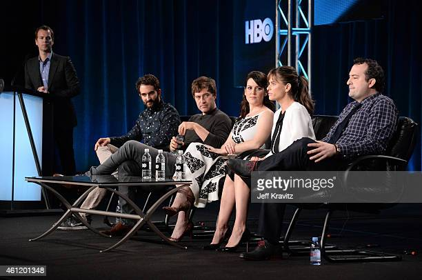 Casey Bloys, executive vice president HBO Programming, listens as Jay Duplass, writer/director, Mark Duplass, actor/writer/director, and actors...