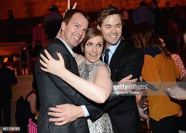 HBO EVP Casey Bloys Lena Dunham and Andrew Rannells attend the Girls Season Three premier after party at Jazz at Lincoln Center on January 6 2014 in...