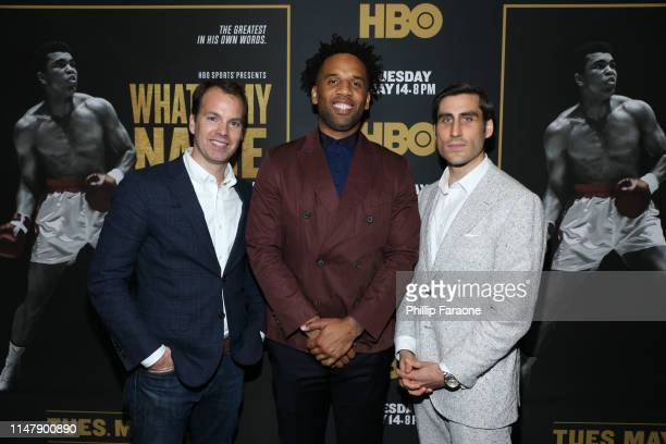 Casey Bloys Maverick Carter and Peter Nelson attend the premiere of HBO's What's My Name Muhammad Ali at Regal Cinemas LA LIVE Stadium 14 on May 08...