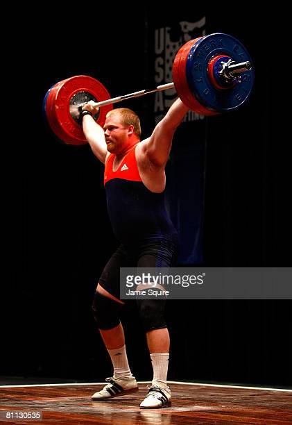 Casey Burgener makes a successful lift in the men's snatch competition during the 2008 Olympic Weightlifting Trials on May 17 2008 at the Robert...
