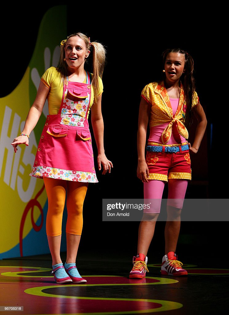 Casey Burgess and Fely Irvine of the new Hi-5 line-up perform a segment from their new stage show 'Hi-5 Surprise!' at the Theatre Royal on January 12, 2010 in Sydney, Australia.