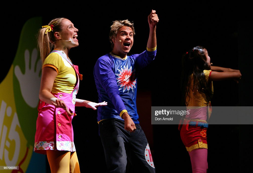 Casey Burgess,Stevie Nicholson and Fely Irvine of the new Hi-5 line-up performs a segment from their new stage show 'Hi-5 Surprise!' at the Theatre Royal on January 12, 2010 in Sydney, Australia.