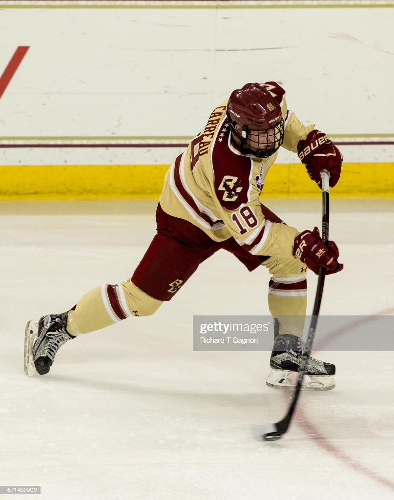 Casey Carreau #18 of the Boston College Eagles shoots the puck against the Connecticut Huskies during NCAA hockey at Kelley Rink on November 7, 2017 in Chestnut Hill, Massachusetts. The Eagles won 2-1.