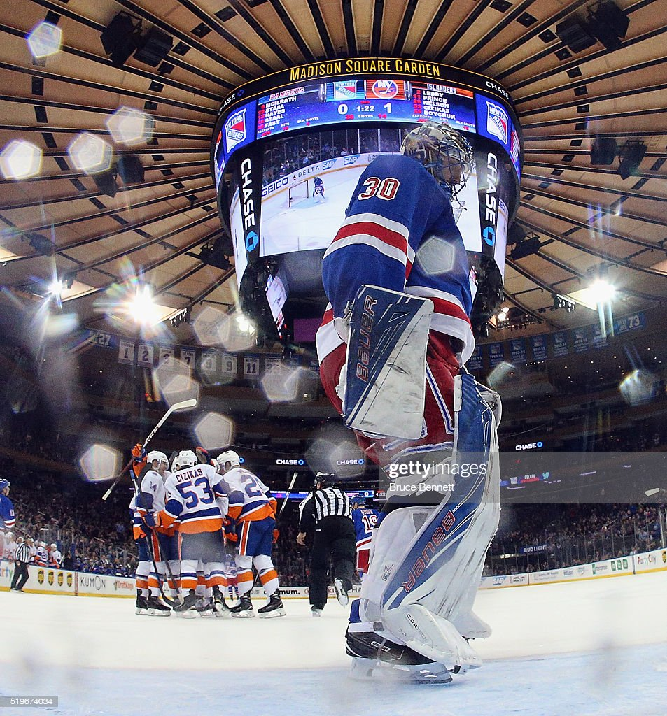 Casey Cizikas #53 of the New York Islanders celebrates his goal at 18:38 of the second period against Henrik Lundqvist #30 of the New York Rangers at Madison Square Garden on April 7, 2016 in New York City.