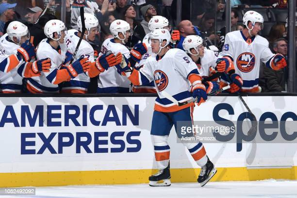 Casey Cizikas of the New York Islanders celebrates with the bench after his firstperiod goal against the Los Angeles Kings at STAPLES Center on...