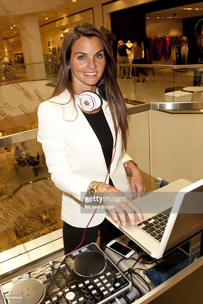 DJ Casey Connor spins at Cookie Johnson and Neiman Marcus host Girls Night Out on April 18, 2013 in Beverly Hills, California.