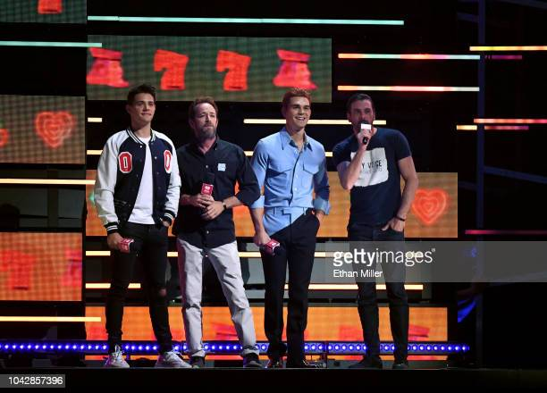 Casey Cott Luke Perry KJ Apa and Skeet Ulrich onstage during the 2018 iHeartRadio Music Festival at TMobile Arena on September 22 2018 in Las Vegas...
