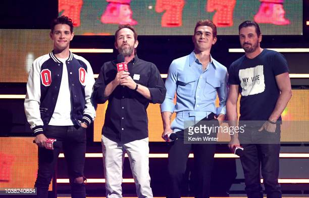 Casey Cott Luke Perry KJ Apa and Skeet Ulrich speak onstage during the 2018 iHeartRadio Music Festival at TMobile Arena on September 22 2018 in Las...