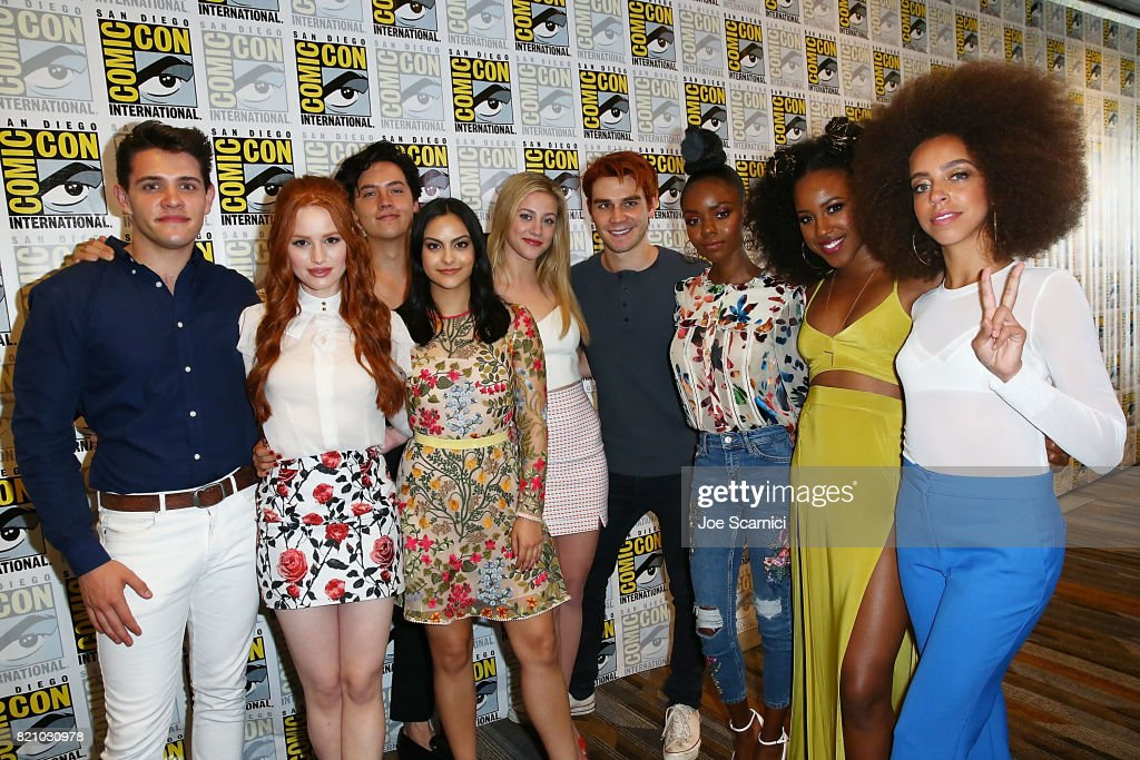 Casey Cott, Madelaine Petsch, Cole Sprouse, Camila Mendes, Lili Reinhart, KJ Apa, Ashleigh Murray, Asha Bromfield and Hayley Law arrive at the 'Riverdale' press line at Comic-Con International 2017 on July 22, 2017 in San Diego, California.