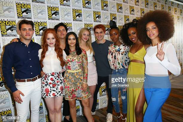 Casey Cott Madelaine Petsch Cole Sprouse Camila Mendes Lili Reinhart KJ Apa Ashleigh Murray Asha Bromfield and Hayley Law arrive at the 'Riverdale'...