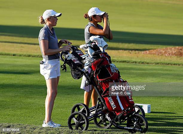 Casey Danielson and teammate Andrea Lee of Stanford prepare to tee off the second playoff hole on the 11th during day 1 of the 2016 East Lake Cup at...