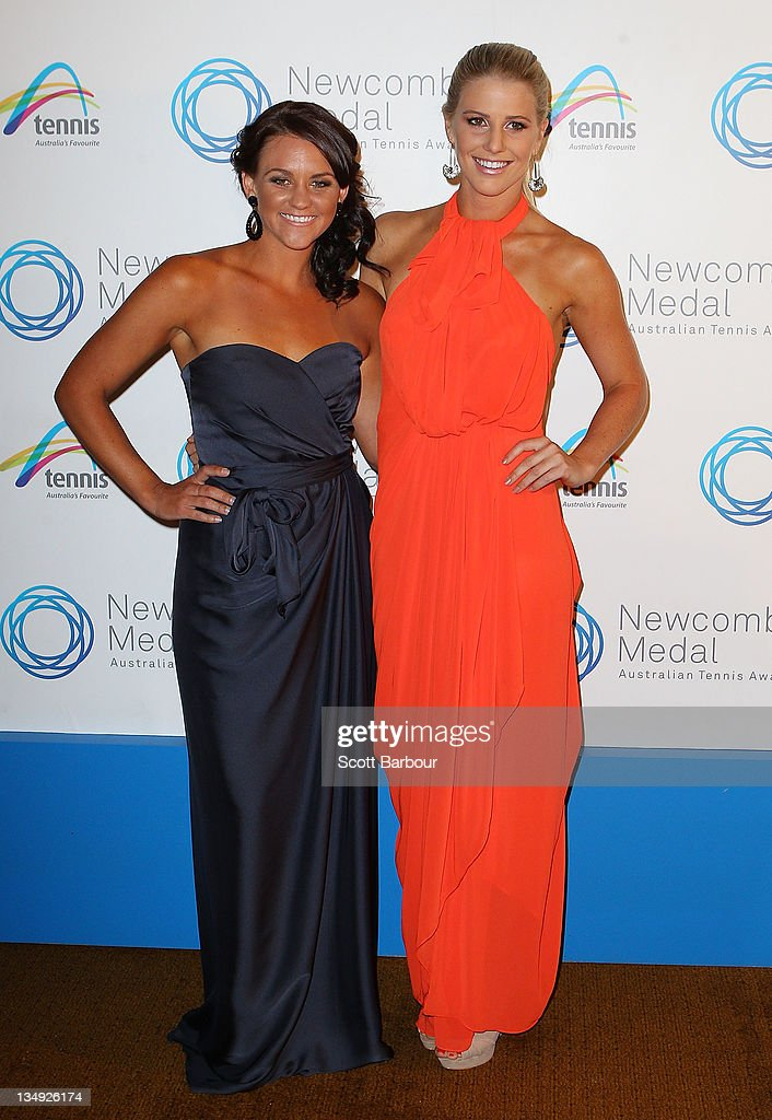 Casey Dellacqua and Isabella Holland arrive at the 2011 Newcombe Medal at Crown Palladium on December 5, 2011 in Melbourne, Australia.