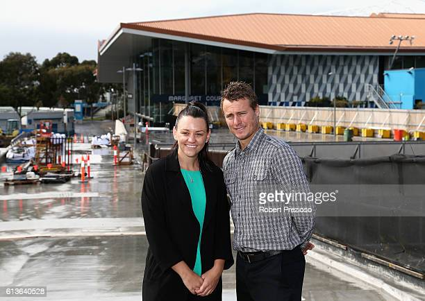 Casey Dellacqua and Lleyton Hewitt pose for photos on the Tanderrum bridge linking Birrarung Marr to Melbourne Park during the 2017 Australian Open...