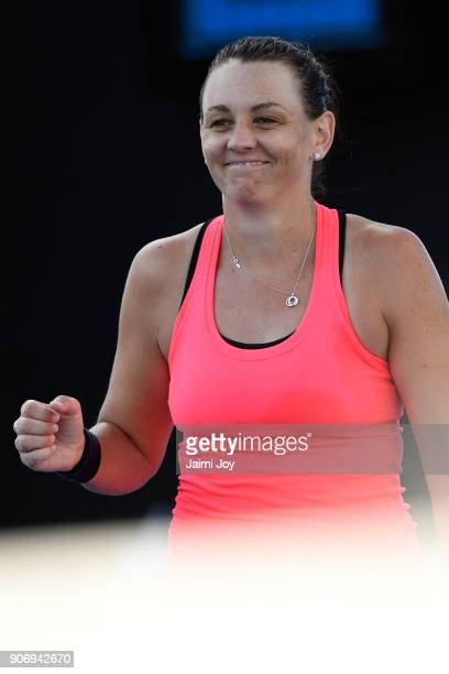 Casey Dellacqua celebrate after winning a point in her first round women's doubles match with Ashleigh Barty of Australia against Elise Mertens of...